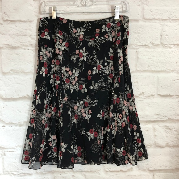 Clothing, Shoes & Accessories New Fashion Ann Taylor Loft Womens White Multicolor Flower Pattern Career A-line Skirt Sz 10 Skirts